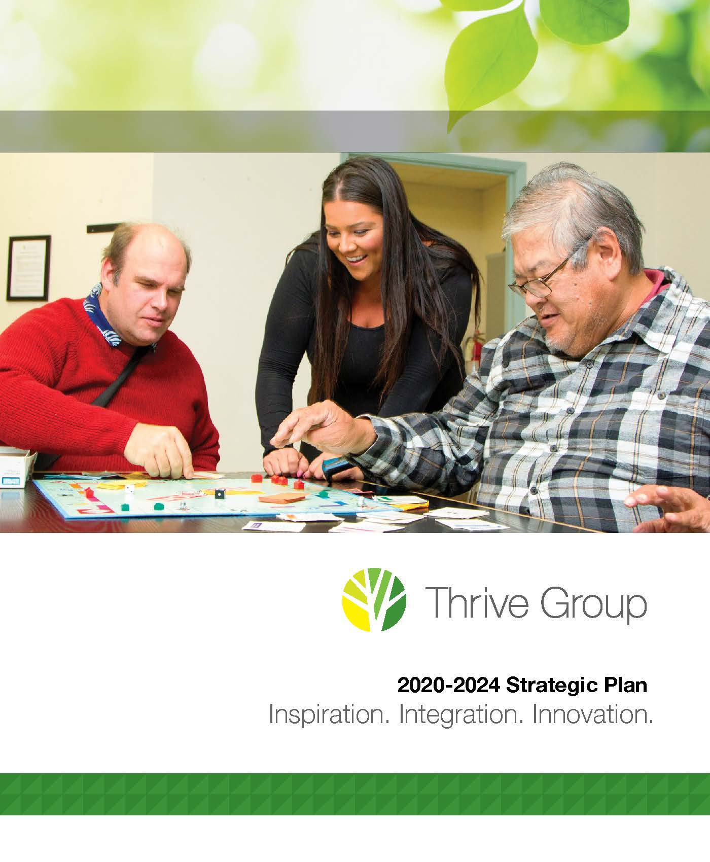 Cover of Thrive Group 2020-2024 Strategic Plan Booklet