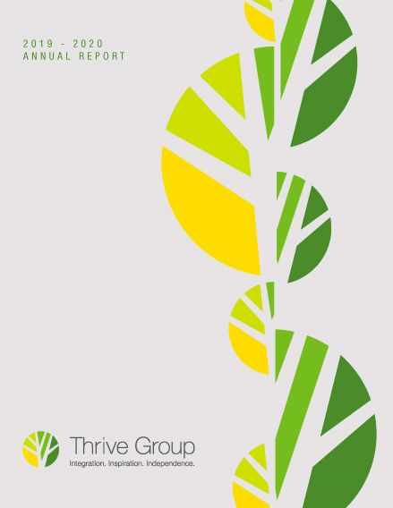 Cover of the Thrive Group Annual Report Booklet